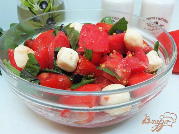 фото рецепта: Салат из помидоров, моцареллы и базилика с горчичной заправкой