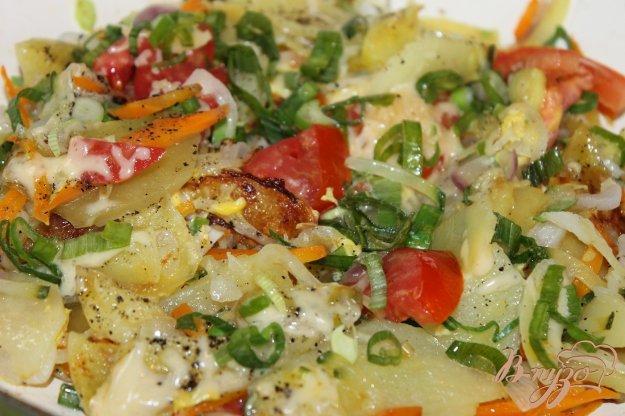 фото рецепта: Жаренный овощи в яичной заправке с твердым сыром
