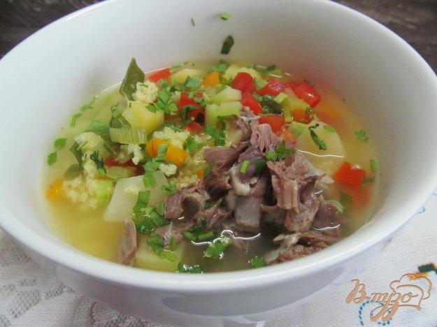 фото рецепта: Овощной суп с пшеном на бульоне из баранины