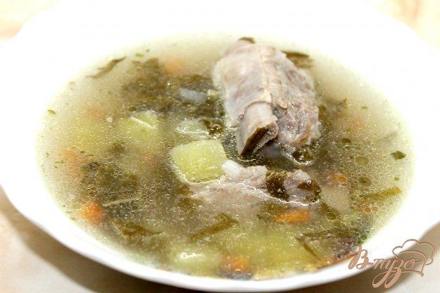 фото рецепта: Суп из свиного ребра с зеленым горошком и щавелем