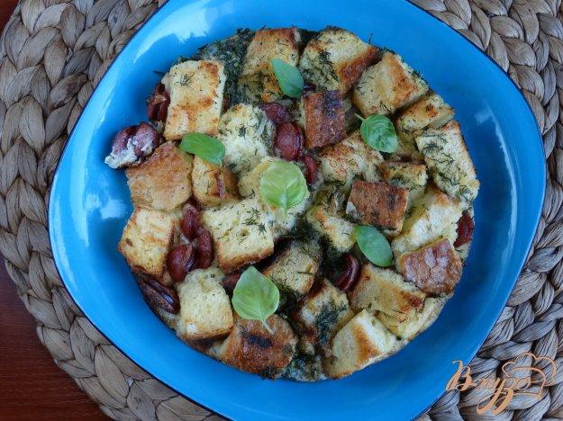 фото рецепта: Хлебная запеканка с колбасками