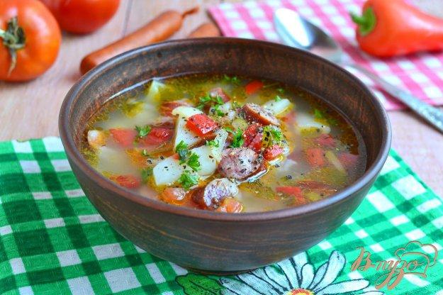фото рецепта: Суп с рисом, овощами и охотничьими колбасками