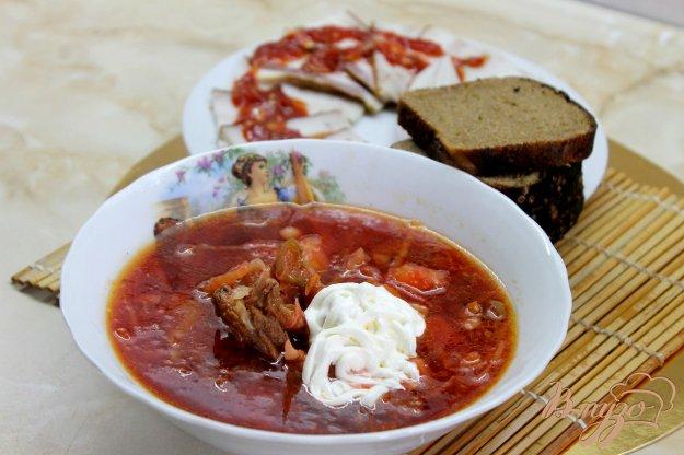 фото рецепта: Украинский борщ из свиных ребер и копченого сала