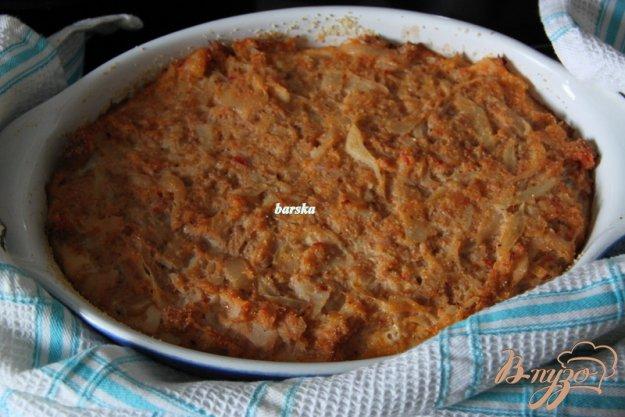 фото рецепта: Томатно-капустная запеканка с рыбными консервами