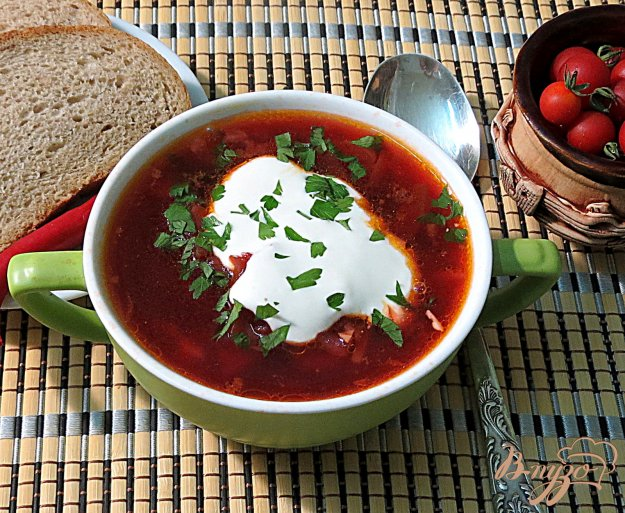 фото рецепта: Борщ постный с перцем и помидорами