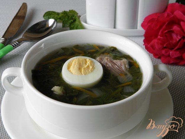 фото рецепта: Зеленый щавелевый суп с яйцом