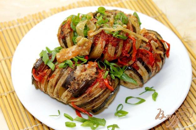 фото рецепта: Фаршированный картофель баклажанами и перцем