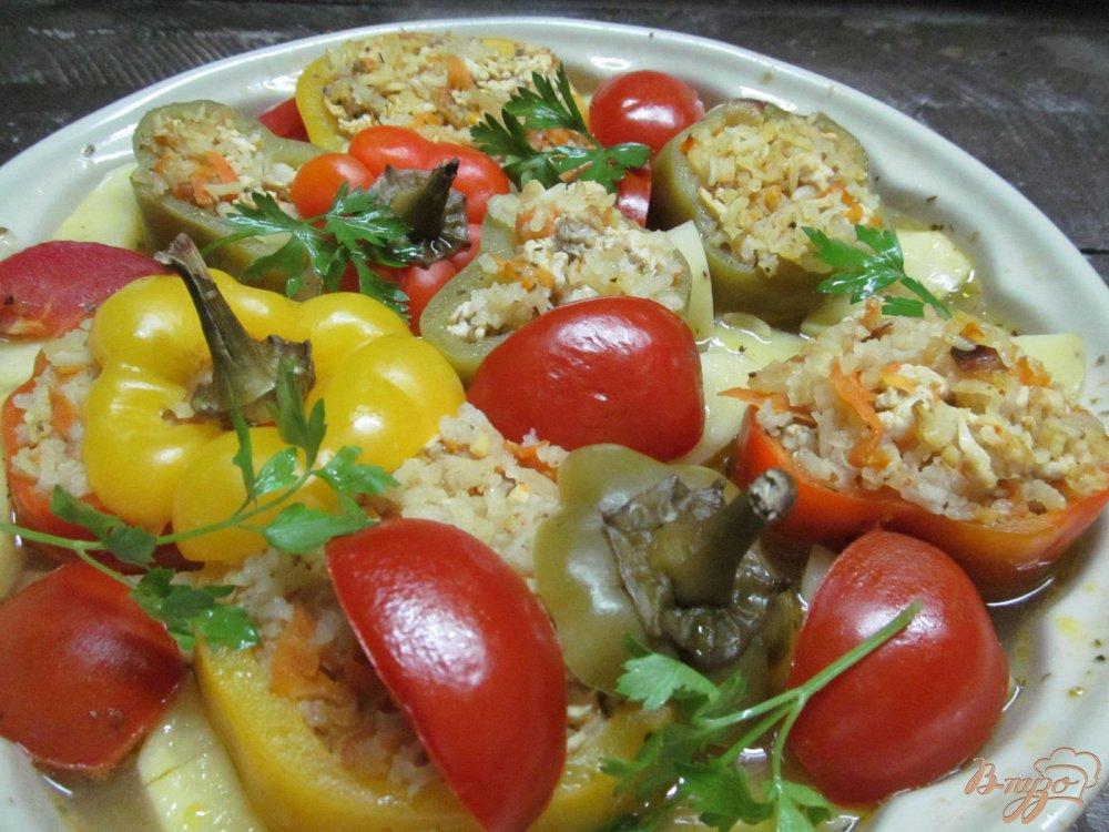 Перец фаршированный рисом и овощами рецепт с пошагово