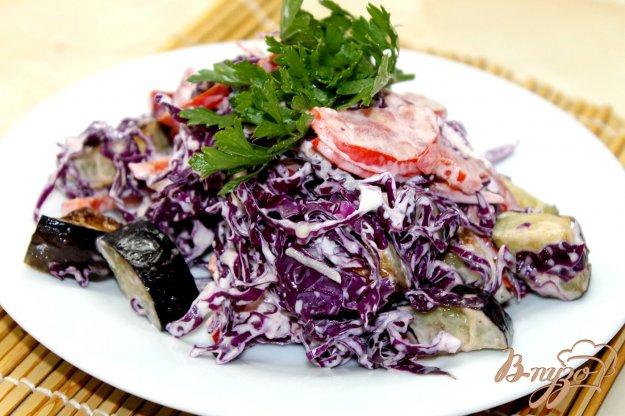 фото рецепта: Салат из краснокочанной капусты и жареных баклажан