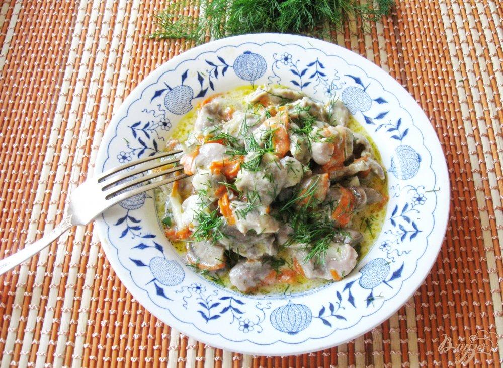 Желудки куриные с грибами в сметане рецепт