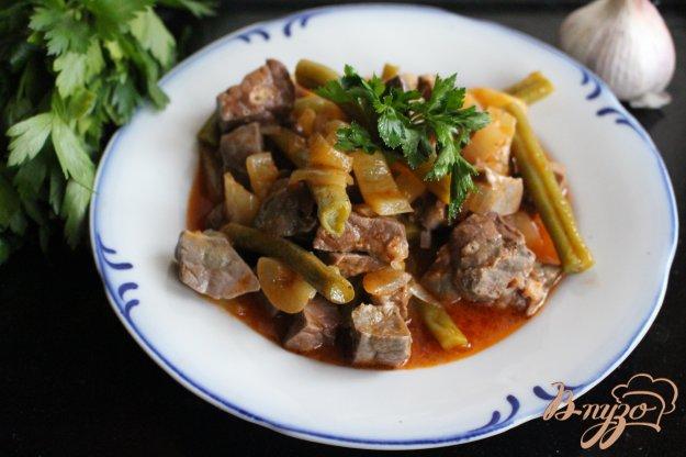 фото рецепта: Свиное легкое тушеное с овощами в томате
