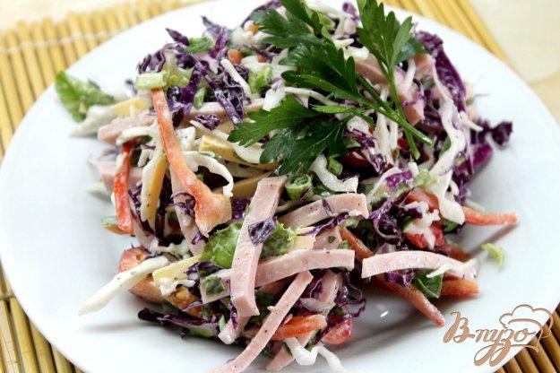 фото рецепта: Салат из двух видов капусты с колбасой и сыром