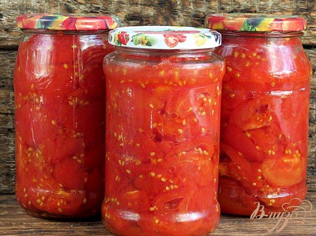 фото рецепта: Консервированные помидоры дольками