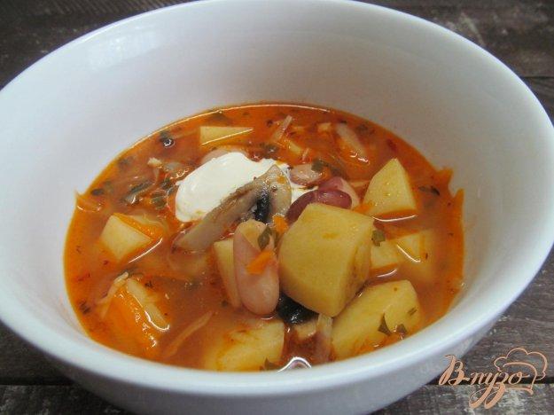 фото рецепта: Щи с квашенной капустой фасолью и грибами
