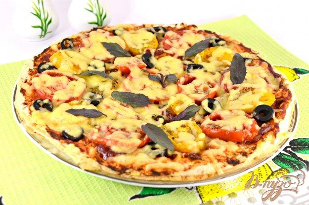 фото рецепта: Пицца из лаваша с сыровяленой колбасой