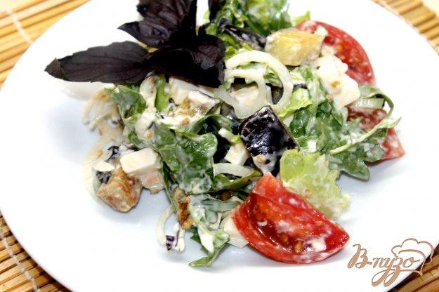 фото рецепта: Салат с сыром, баклажанами и рукколой