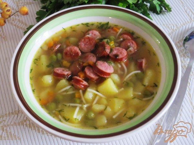фото рецепта: Быстрый суп с полукопченными сосисками