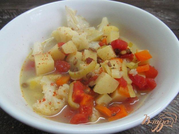 фото рецепта: Овощной суп с чечевицей