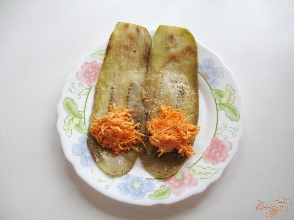 Фото приготовление рецепта: Рулетики из баклажанов с морковью и чесноком шаг №6