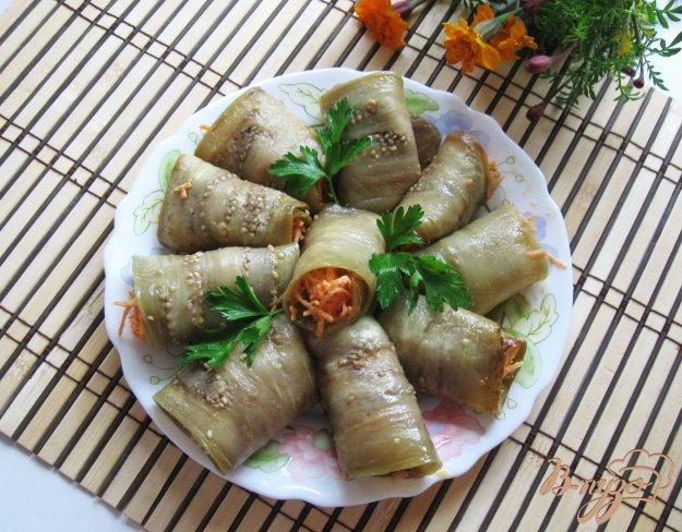фото рецепта: Рулетики из баклажанов с морковью и чесноком
