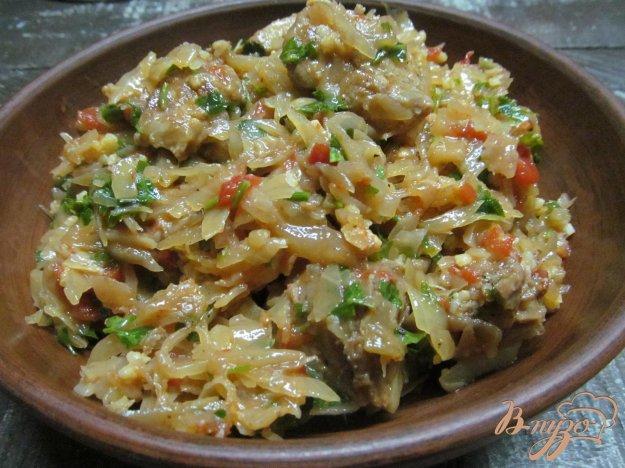 фото рецепта: Капустная солянка с колбасками и свининой