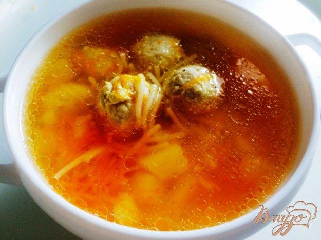 фото рецепта: Суп из фрикаделек с  вермишелью для деток