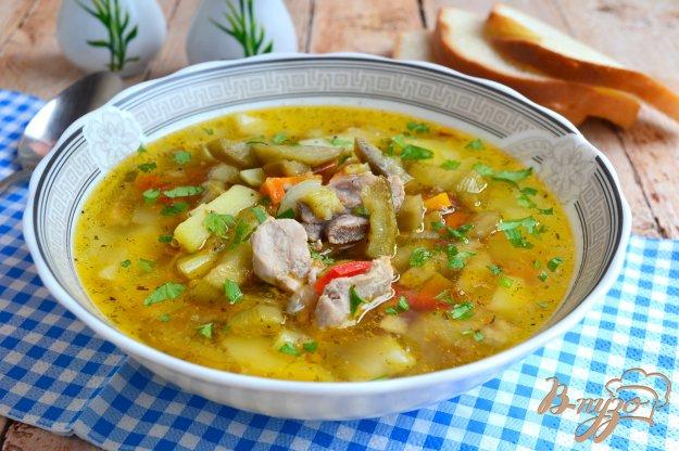 фото рецепта: Суп со свининой и баклажанами