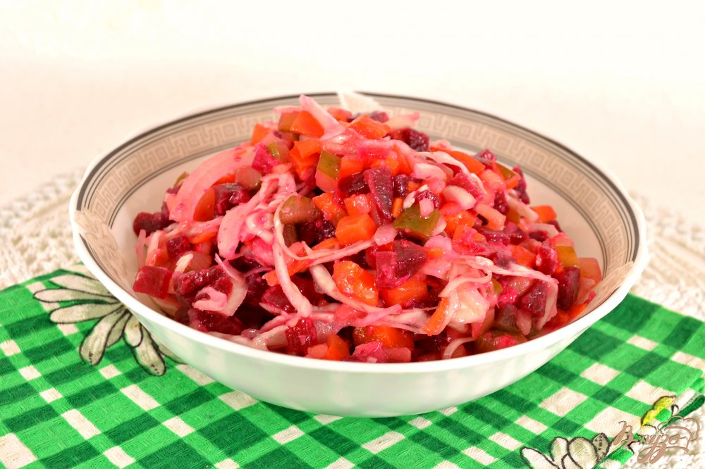Винегрет с квашеной капустой и горошком рецепт с пошагово в