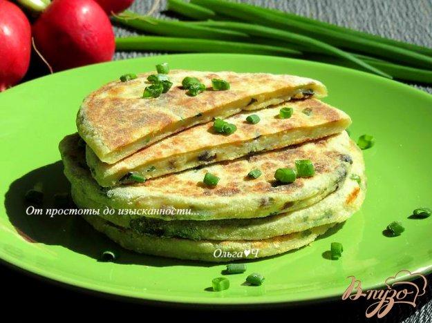 фото рецепта: Финские картофельные лепешки с грибами и зеленым луком