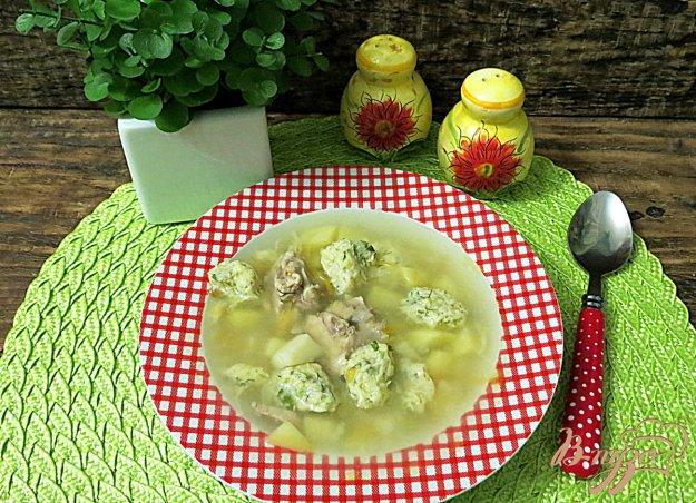 фото рецепта: Куриный с  суп с кабачковыми галушками