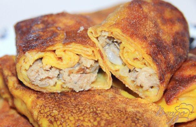 фото рецепта: Тыквенные блинчики с мясной начинкой