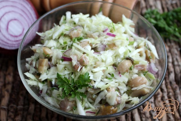 фото рецепта: Салат из капусты с солеными грибами и красным луком