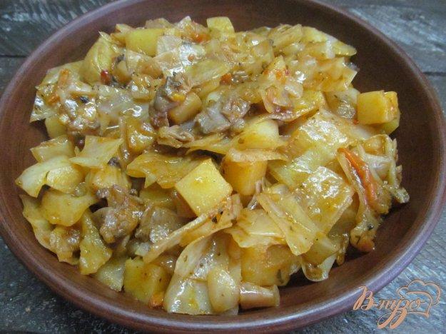 капуста тушёная с картошкой и грибами в мультиварке
