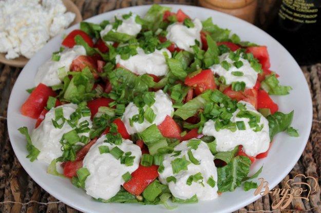 фото рецепта: Салат из помидор с творожным соусом и зеленью