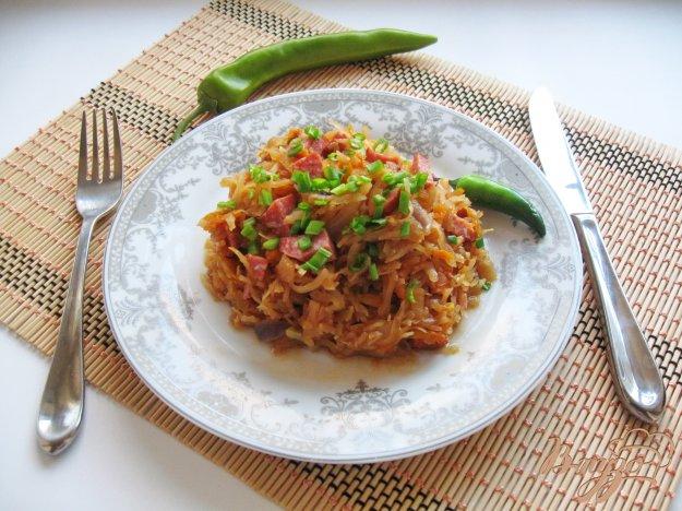 фото рецепта: Тушеная капуста с копченой колбасой