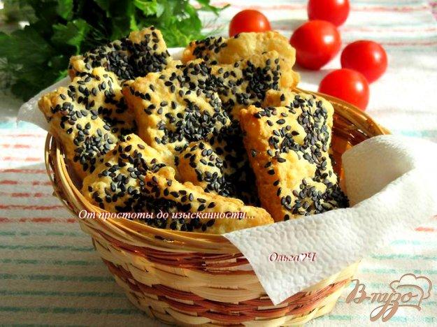 фото рецепта: Сырное печенье с чесноком и кунжутом