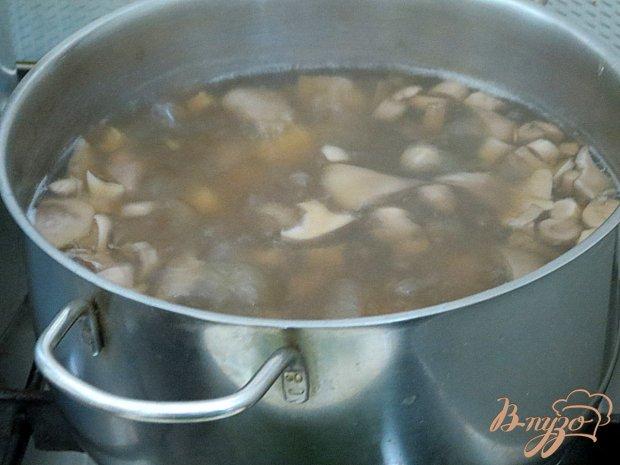 Суп с лесными вешенками и шпинатом.