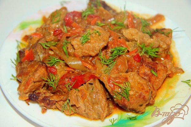 фото рецепта: Свинина, тушеная в сметане с овощами