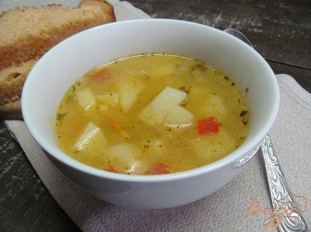 фото рецепта: Суп с рисом огурцами и тыквенным пюре