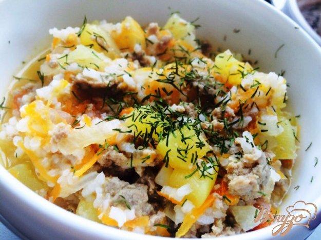 фото рецепта: Овощное соте с рисом и говядиной для маленьких