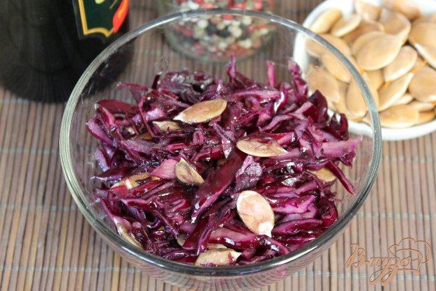 фото рецепта: Салат из красной капусты с чесноком и семечками