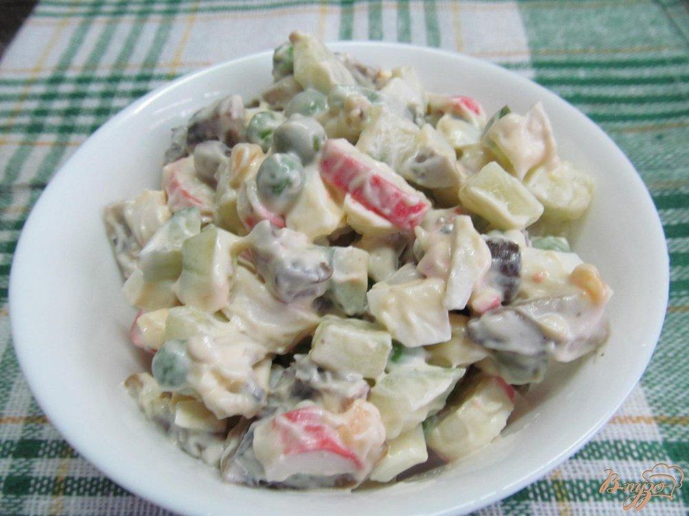 Салат с грибами и крабовыми палочками слоями рецепт с
