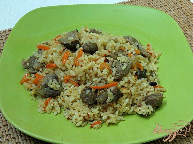 фото рецепта: Рис с куриными желудочками