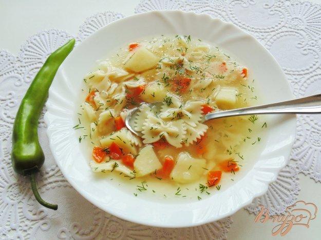 фото рецепта: Куриный суп с пастой фарфалле