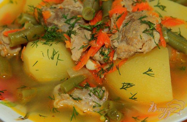 фото рецепта: Свинина с фасолью и картофелем в мультиварке