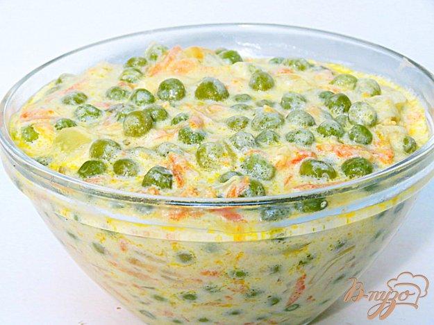 фото рецепта: Зелёный горошек в сметанно - молочном соусе