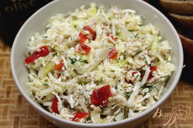 фото рецепта: Салат из капусты с курятиной и брынзой