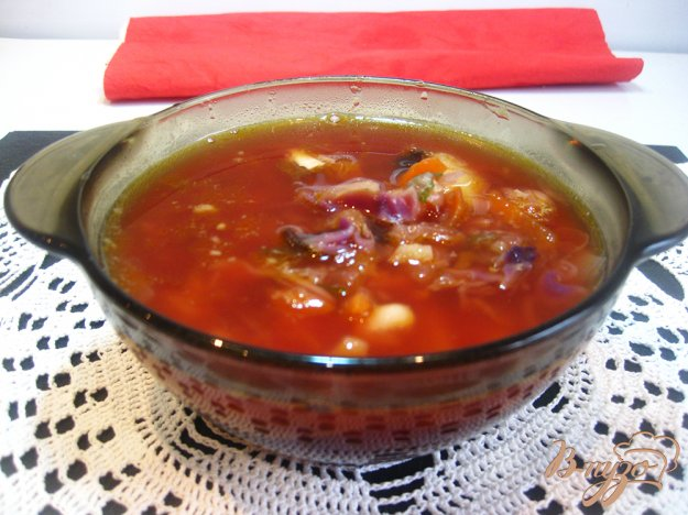 фото рецепта: Борщ с краснокачанной капустой и фасолью