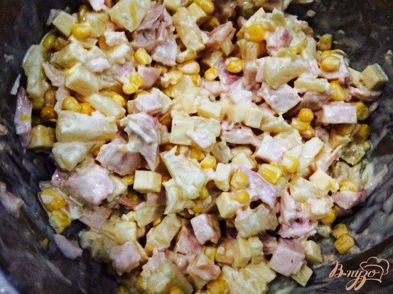 Салат из ананасов и копченой курицы рецепт с