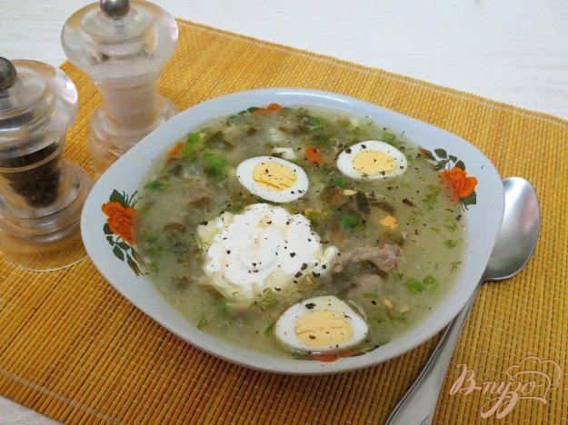 фото рецепта: Щавелевый суп на курином бульоне, с перепелиными яйцами
